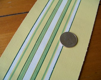 Vintage 40s Wallpaper Border Yellow Green White Art Deco Stripe 2 Full Rolls 8 yards