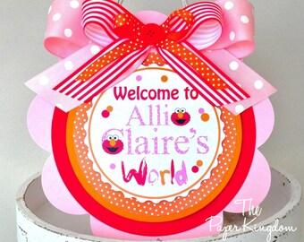 Elmo Door Sign, Girl Elmo Welcome Door Hanger, Elmo Birthday Party Decorations