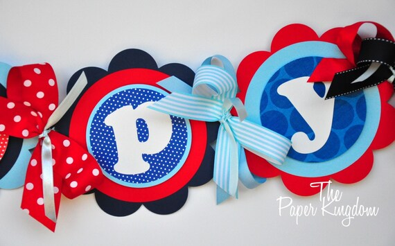 Nautical Happy Birthday Banner in Red Navy Blue and Light Blue. Nautical Birthday Party, Nautical Bunting