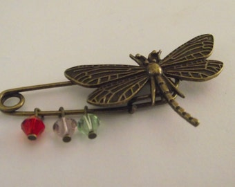 Dragon Fly Mothers Pin Brooch Antique Bronze pin with crystal dangles