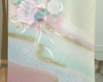 Painted Floral Silk Kimono Fabric Wrap/Shawl/Scarf/Shrug/Long Island Bridal Wedding Bride Gift..Roses Bouquet..Golden/Pastels..Clutch match