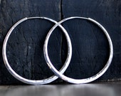 2 inch hoop earrings, sterling silver, planishing smooth hammer, wide endless style hoop, eco friendly solar power