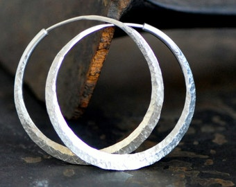 1 1/2 inch sterling silver hoop earring,  endless style, raw silk texture or your choice, medium round loops, eco friendly jewelry