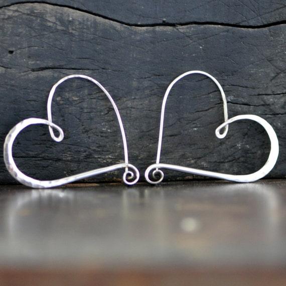 large silver heart hoop earrings,   hammered sterling silver heart earring endless style