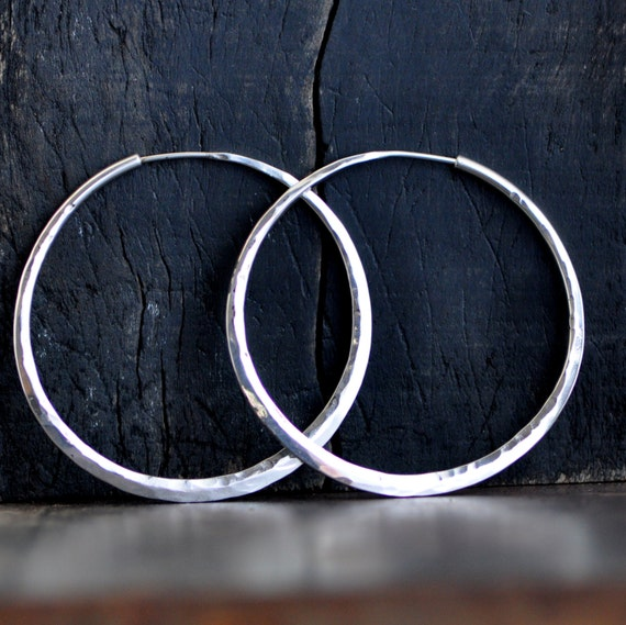 2 inch hoop earrings, sterling silver, planishing smooth hammer, wide endless style hoop, eco friendly solar power