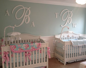 Solid Color Wooden Monogram Wall Letters