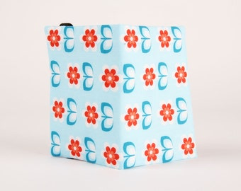 Fabric card holder - Whoopy daisies in blue / Belgian fabric / summer flowers / light blue red white / Modern  Boho
