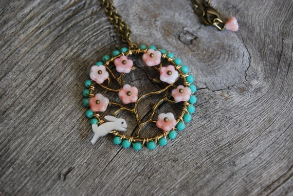 The white rabbit in the  apple orchard necklace