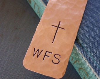 Cross Bookmark, Monogram Bookmark, Custom Hand Stamped, Bible Marker, Religious Gift,Monogramed Gift,First Communion Gift, Confirmation Gift