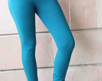 Turquoise Blue Color  Leggings Medium Size Casual Wear Comfortable Fit boho Style