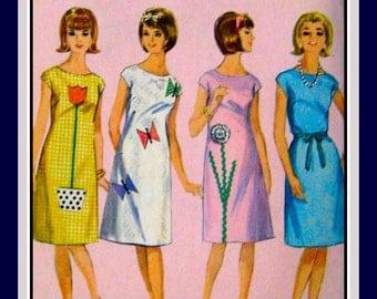 Vintage 1964 -MOD FLOWER Dress-Sewing Pattern- Applique- Floral- Butterfly Motifs- Rick Rack -Ribbon Tie Belt -Uncut- Size 11 -Rare