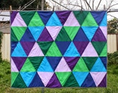 Color Block Quilt - Blue, Purple and Green Triangle Patchwork Quilt for Crib / Cot