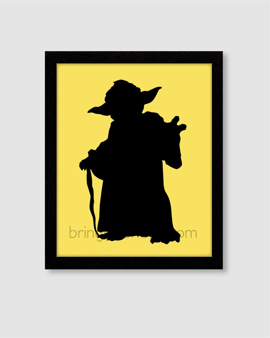 Star wars yoda silhouette wall art print 8x10 for boys room for Silhouette wall art
