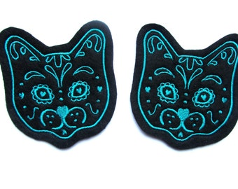 Cat patch Pair of Turquoise Sugar Skull Kitty (more and custom colors available) by Dolly Cool