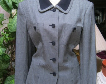 Vintage  fitted navy white woman's blazer, navy white tiny check Mad Men blazer, Swing Era style blazer size 10