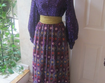 Vintage embroidered sequined purple velveteen gown,  purple gown with vest, theater drama club school play costume size M