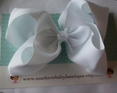 SUMMER SALE---School Cheer Bow X X-Large 7 Inch Hair Bow----White----Ready to Ship----