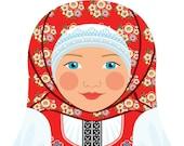 Czech Girl Matryoshka Art Print, Kids Wall Art