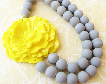 Flower Necklace Bib Necklace Statement Necklace Bridesmaid Jewelry Grey Necklace Yellow Jewelry Gift For Her Beaded Necklace