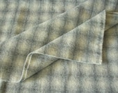 Wool Fabric Gray Ombre Plaid, One Quarter Yard of Felted Wool Flannel