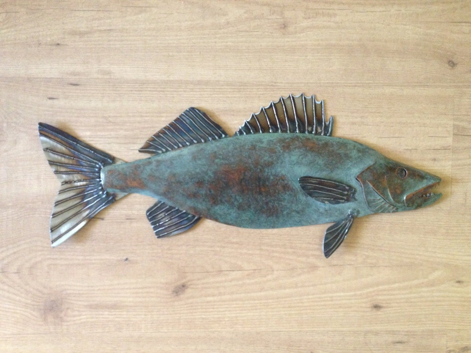 Walleye metal fish 26in art wall sculpture lake cabin cottage for Fish metal wall art