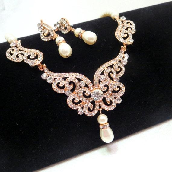Rose gold Bridal jewelry set Rose gold Bridal by treasures570