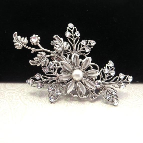 Bridal hair clip, Wedding hair clip, Wedding headpiece, Bridal hair pin, Antique silver hair comb, Swarovski crystals clip, Hair accessory