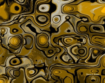 Earth Tones Abstract Art, Brown Golden Yellow Black, Southwestern Style, Digital Design, Wall Hanging, Home Decor, Giclee Print, 8 x 10