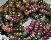 Faceted Tourmaline Rondel Strand Large