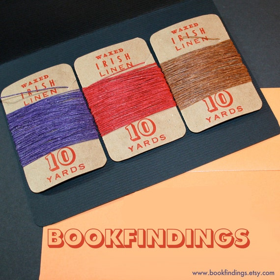 30 yards, YOU PICK COLORS, waxed irish linen set of 3