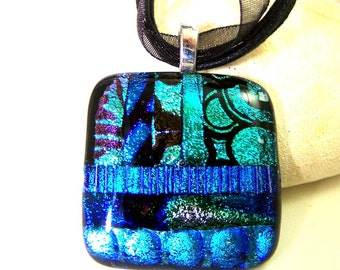 Shades of Blue  Dichroic  Pendant-Focal- Fused Glass- One of a Kind Leslie Dana-Made in New York