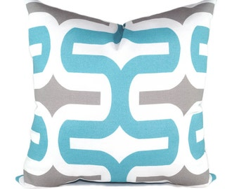 Premier Prints Embrace Ocean Blue Storm Gray and White Outdoor Decorative Throw Pillow - Free Shipping