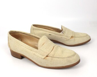 Linen Leather Shoes Brown Vintage 1980s Ralph Lauren Women's size 7