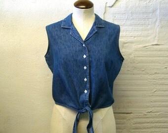 Denim Sleeveless top Vintage 1980s Cutout Crop Cotton Tie front Short At last Women's size L