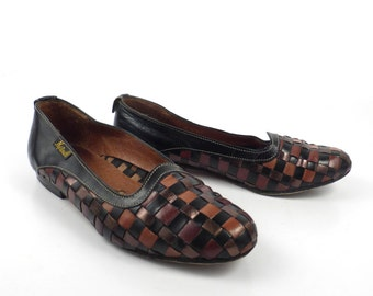 Woven Leather Loafers Brown Vintage 1980s Black Shoes Women's size 35