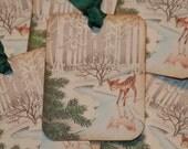 Baby Deer Glittered Old Fashion Vintage Christmas Gift Tags, Christmas Tags, Holiday Tags, Woodland Christmas