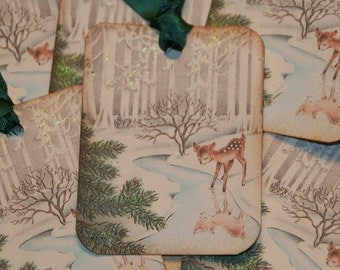 Baby Deer Gift Tags, Christmas Tags, Holiday Tags, Woodland Christmas Tags, Vintage Christmas Glittered Old Fashion Tags