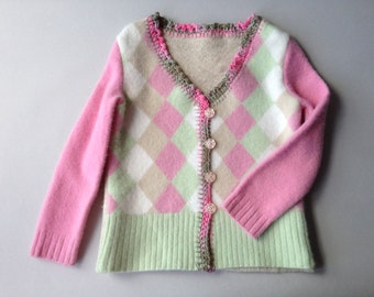 One of a Kind Repurposed  Wool Child's Sweater Size 5