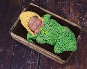 crochet corn on the cob baby cocoon, photo prop, newborn size
