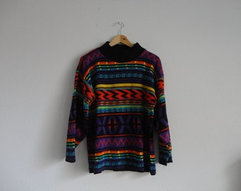 VINTAGE black and multi color XOXO SWEATER - md / lg