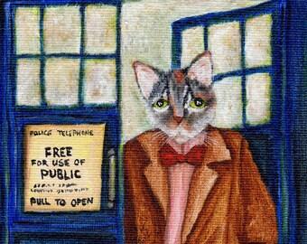 Dr Who Cat, Grey Tabby Cat in TARDIS Starry Night, Doctor Cat Fine Art Print 8x10