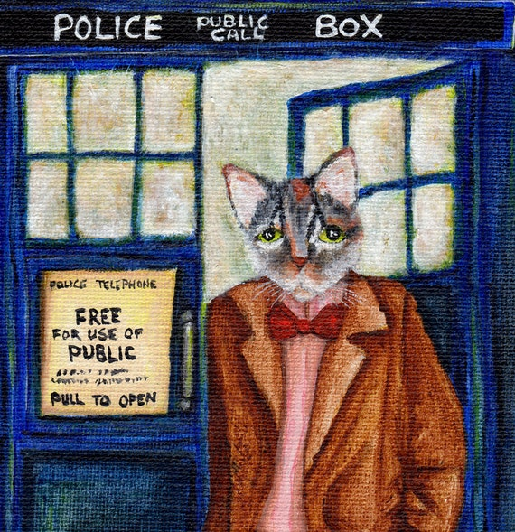 Dr Who Cat, Grey Tabby Cat in TARDIS Starry Night, Doctor Cat Fine Art Print 8x10