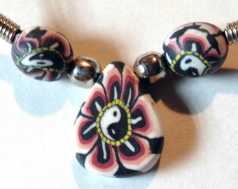 1960s Hippie Fimo Black White Pink YIN YANG Dew Drop Pendant From Toy Machine