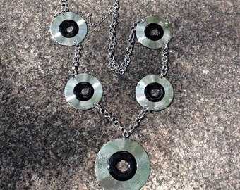 Mid 1970s Designer Disco Record Disc Rhodium Groovy Hipster Necklace