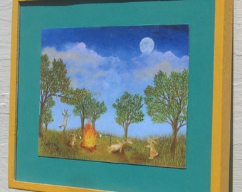 Rabbit art rabbit print framed campfire marshmallows moon party in the park moonlight night out