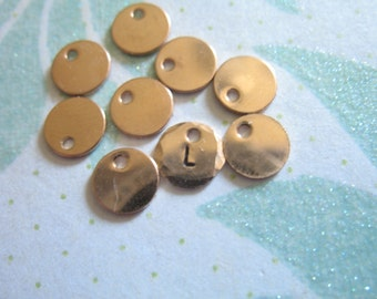 Shop Sale..5 pcs, 6 mm, ROSE GOLD Blanks, 24 gauge, 14k 14kt  Gold Filled Stamping Discs, Circle Round, Sequins Tags, wholesale blank6 rg