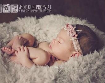 CLEARANCE-Ivory Faux Fur Newborn Photo Props, Lamb Lullaby, Fur, Newborn Baby Photography Props, Basket Stuffer Blanket - Baby Props, Mute