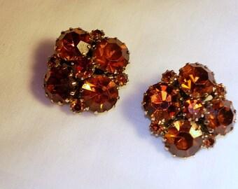 Vintage Signed Weiss Rhinestone Earrings - Clip Ons