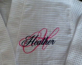 Personalized Robe Spa Robe Short Waffle Weave Embroidered Monogram, Name on Front. You can choose from many colors.