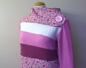 VALENTINE - Hoodie Sweatshirt Sweater - Recycled Upcycled - One of a Kind Women - MEDIUM